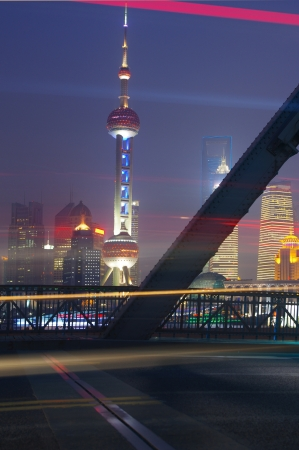 shanghai Garden Bridge Night traffic