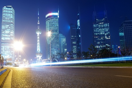 Traffic and construction of the night in Shanghai