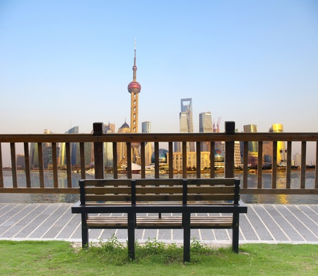 Sit and look at the Shanghai skyline photo