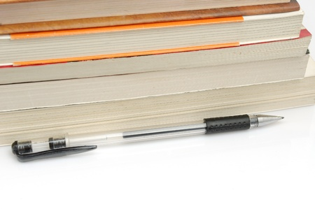 Pens and books  to express the concept of reading  photo