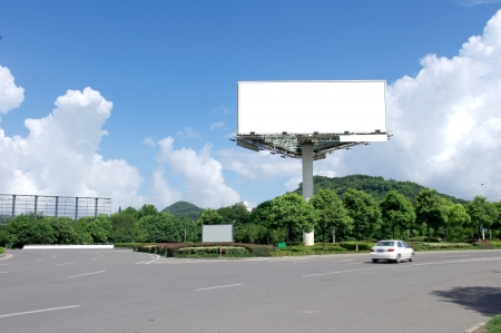 information highway: In the summer blue sky highways and billboards