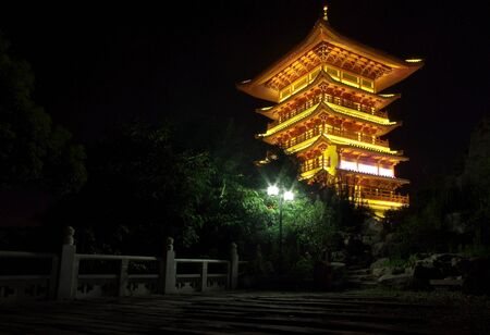 Chinese history ancient tower night photo