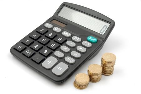 calculadora: Calculadora y dinero Foto de archivo