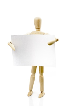 wooden figure: Wooden puppet and paper