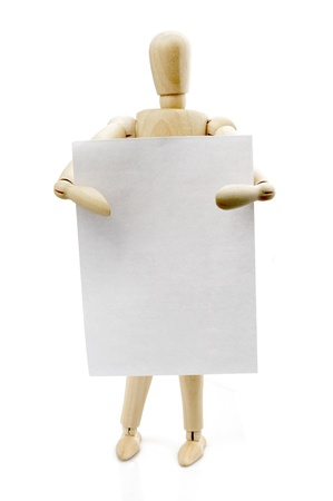 Wooden puppet and paper Stock Photo - 15126464