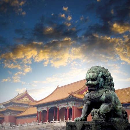china landscape: Sunset Forbidden City Lions