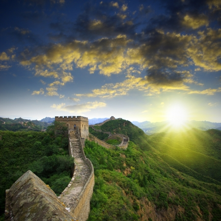 chinese culture: Sunset Great Wall