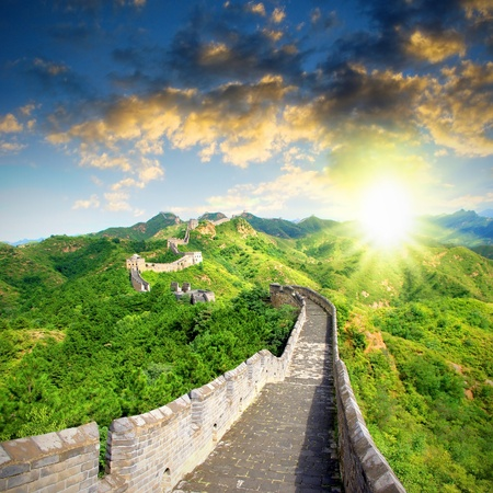 日落中國長城陽光