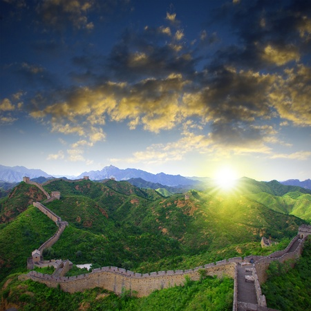 Sunset China Great Wall Sunshine photo