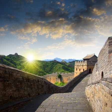 the great outdoors: Sunset China Great Wall Sunshine