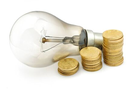 electricity 3d: Bulb and money Stock Photo