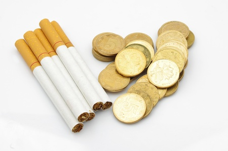 Cigarettes and money photo