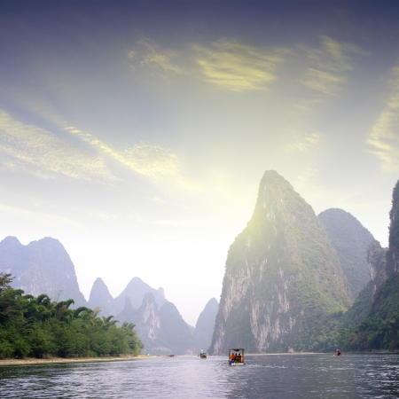karst: China Guilin Yangshuo rafting Stock Photo