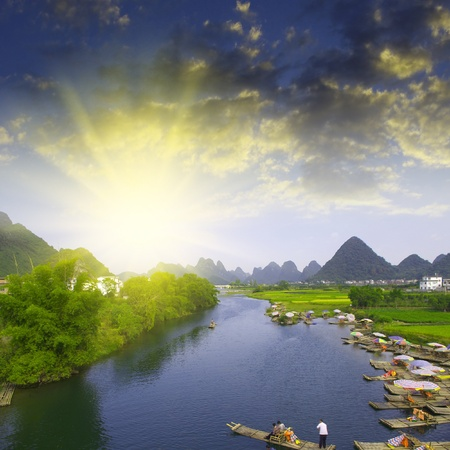 river rafting: China Guilin River rafting