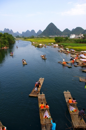 guilin: China Guilin landscape raft