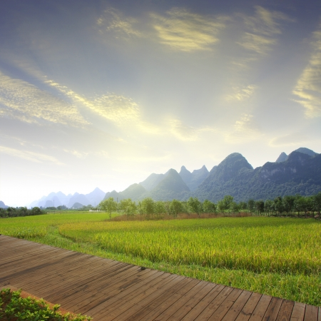 guilin hills,beautiful karst mountain landscape,China photo