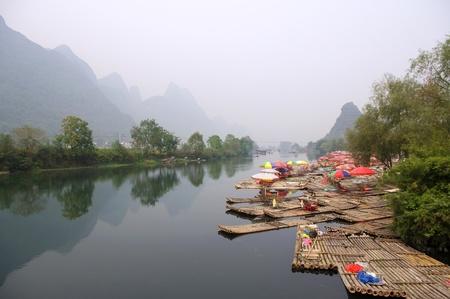 China Guilin landscape raft photo