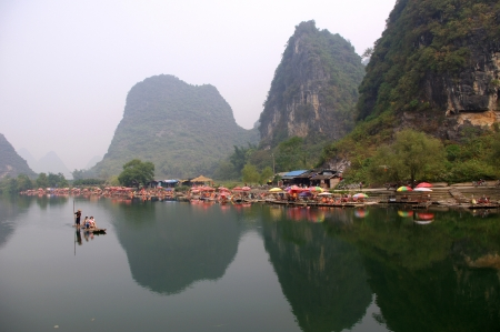 China Guilin Yangshuo Yulong River rafting Stock Photo - 17465666
