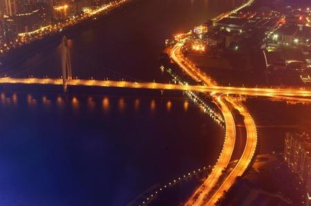 Night city traffic overlooking Stock Photo - 17473920