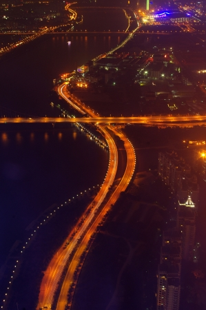 Night city traffic overlooking Stock Photo - 17473917