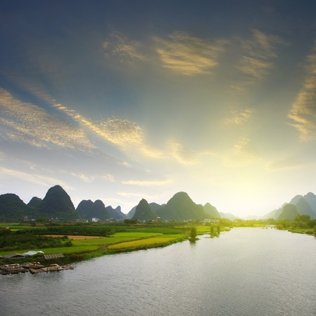 karst: China Guilin landscape raft