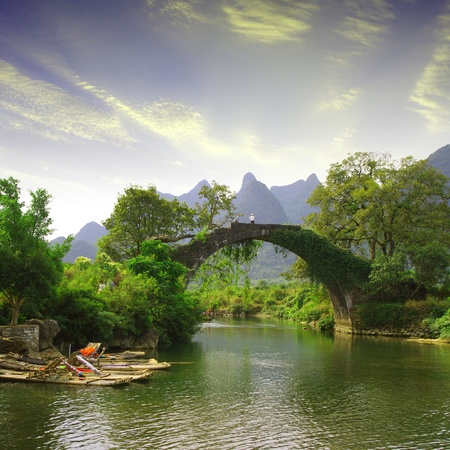 nature landscape: China Guilin Yangshuo Bridge Stock Photo