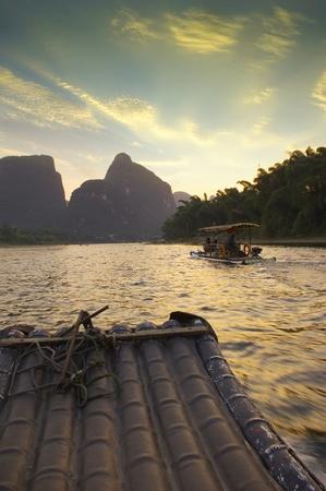 raft: The China Guilin sunset raft