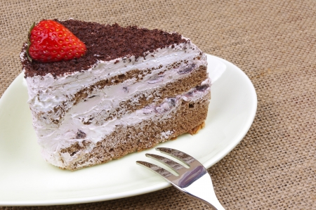 Chocolate strawberry cake photo