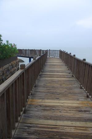 wooden bridge: Closeup of wooden bridge Stock Photo