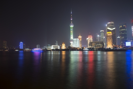 shanghai skyline at night,China