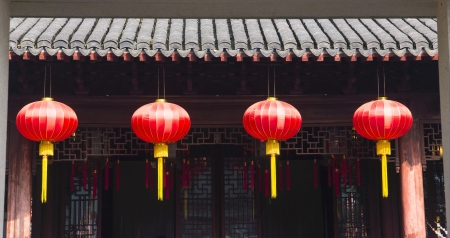 stroke of luck: traditional Chinese lanterns Stock Photo