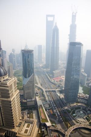 bird s eye view: a bird s eye view of shanghai at dusk