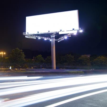 billboard blank: Billboard at night light trails