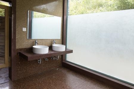 washbasins: Interior of washroom Editorial