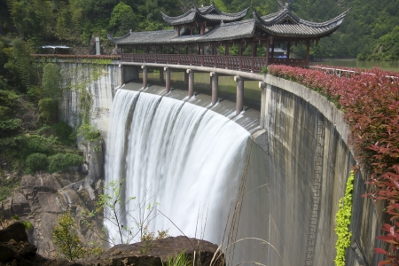 Chinese ancient buildings kiosks and waterfalls