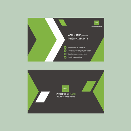 Simple black and green business card