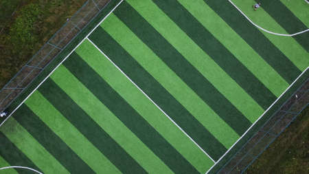 Green football field aerial view top view