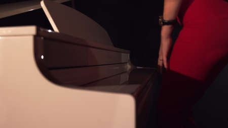 Woman pianists two hand opens the grand piano and starts playing classical music close up in slow motion.Piano keys close up in dark colors.The stage is filled with fog,preparation for the performance