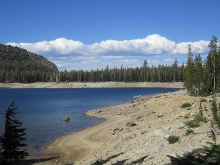 horseshoe lake, mountain bike path, lake, mammoth lakes, california