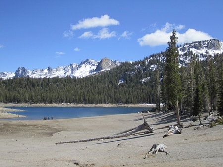 mammoth lakes: Horseshoe Lake, mountain bike path, lake, mammoth lakes, california