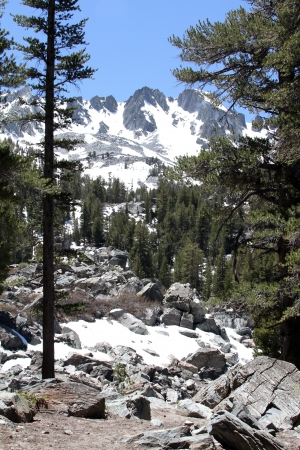 mammoth lakes: Snow Capped Mountains in Trail to Emerald Lake, Mammoth Lakes, California