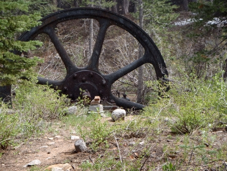 mammoth lakes: Gold Mining Wheel, Mammoth Lakes, California Stock Photo