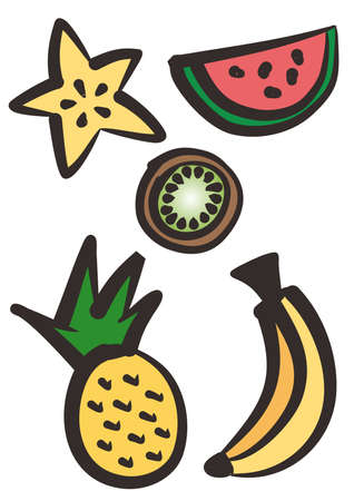 Set of tropical fruits illustration - hand drawing Stok Fotoğraf