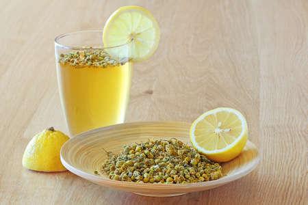chamomile tea: healing chamomile tea and lemon