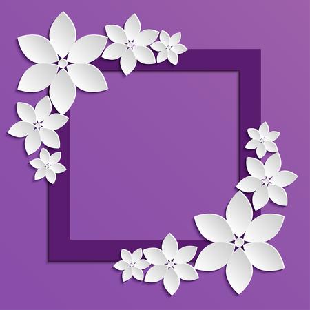 ion: Decorative violet paper cut border with white paper flowers. 3D paper composition ion lilac background.