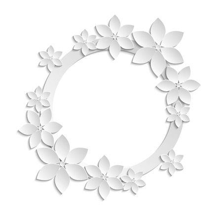 cut flowers: Decorative white paper cut border with white paper flowers. 3D paper composition on white background.