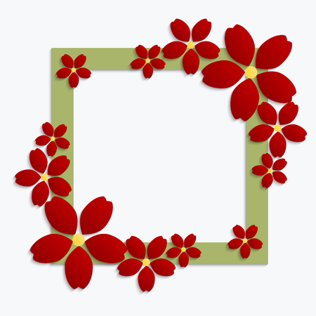 Decorative green paper cut border with red paper flowers 3d decorative green paper cut border with red paper flowers 3d paper composition on white background mightylinksfo