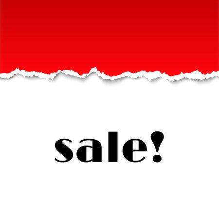 clean off: Sale background with red torn paper texture.