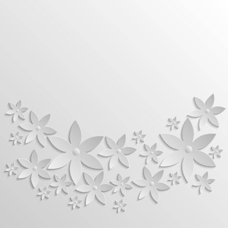 grayscale: Paper background with flowers. 3d paper illustration in grayscale.