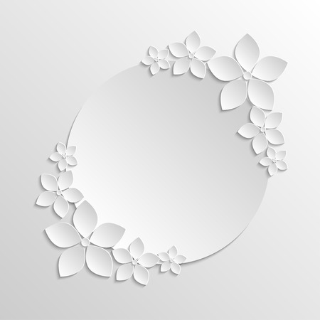 grayscale background: Paper badge template with paper white flowers on grayscale background.   Illustration